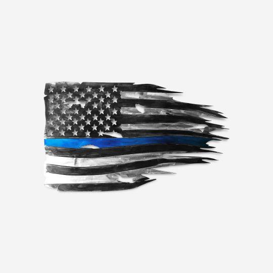 Thin Blue Line Metal Flag